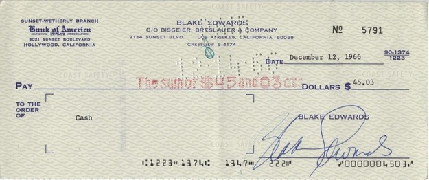 Edwards, Blake - signed cheque